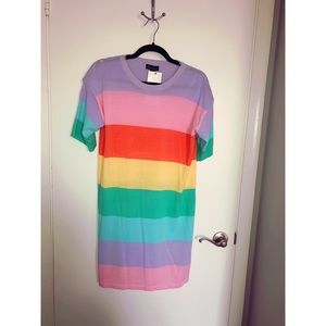 Rachael - Rainbow Striped Sweater Dress